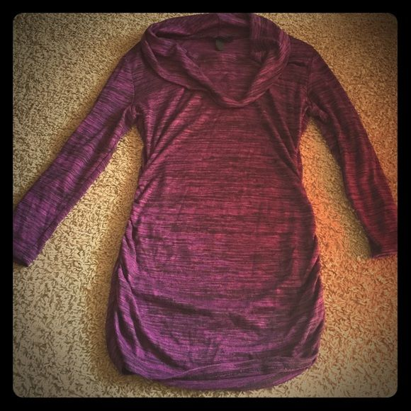 Purple dressy top Cute purple and black top. 3/4 length sleeves and is a longer shirt. Really cute with leggings. Tops Tees - Long Sleeve