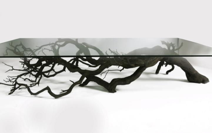 Found Fallen Tree Branch Is Repurposed Into Beautifully Unconventional Shelving Decor Tree Coffee Table Coffee Table