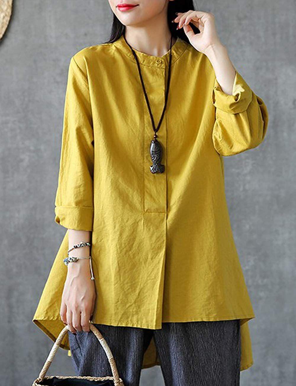 Women Casual Loose Cotton Linen Button Long Sleeve Long Shirt Blouse Tunic  Tops