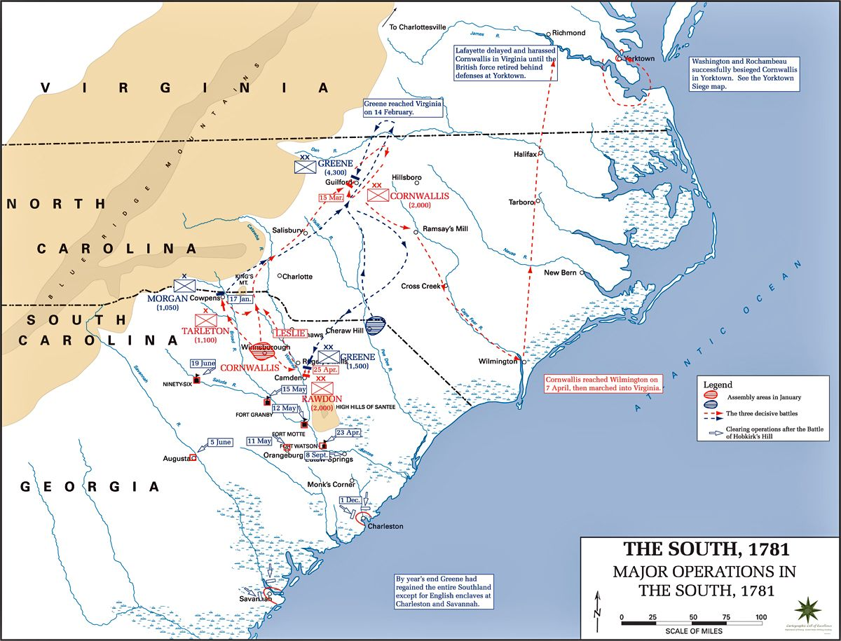 Map Of The American Revolution Operations In The South