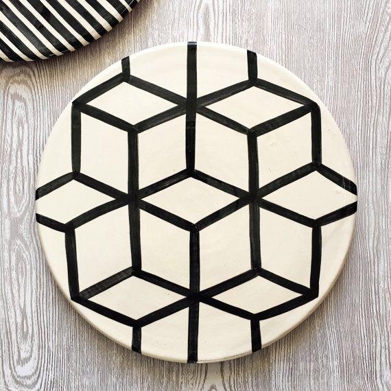 Graphic Platter - Cubes - Serving Platter / Serving Plate / Serving Dish / Decorative Platter & Graphic Platter - Cubes - Serving Platter / Serving Plate / Serving ...