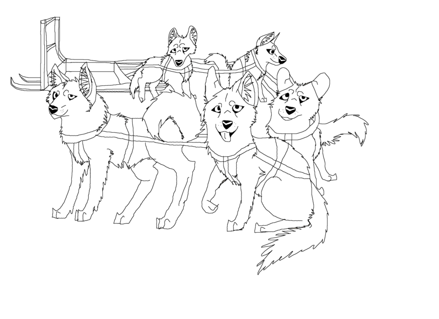 Dogs Sled Teams Cartoon
