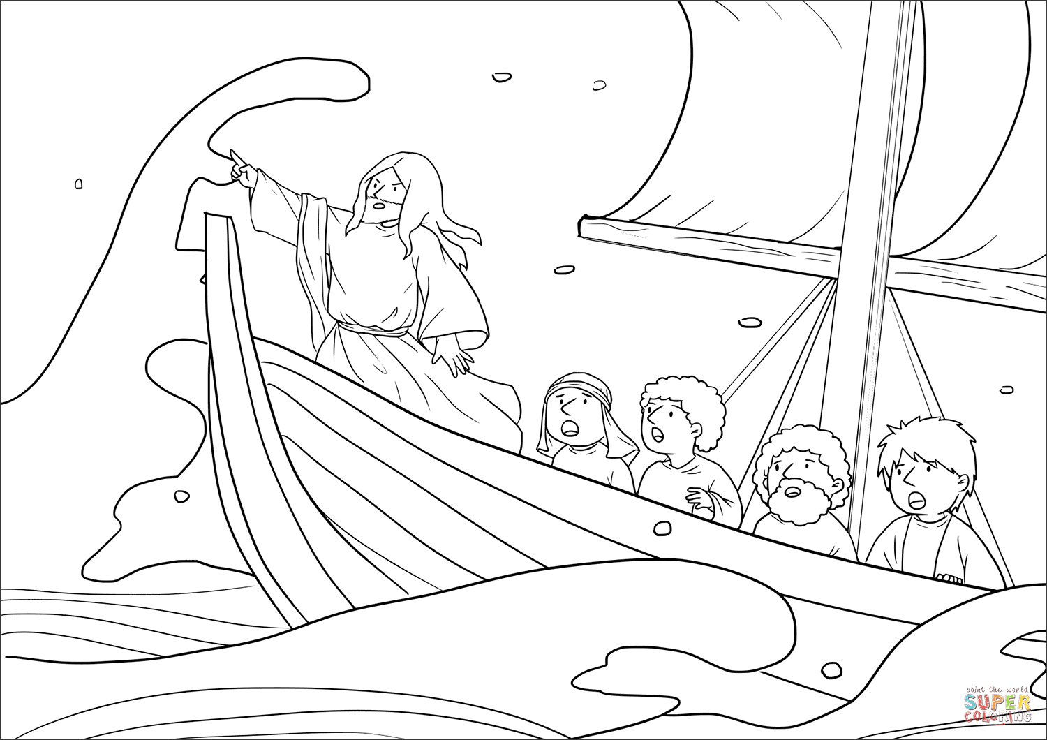 jesus calms the storm mark 43541 coloring page  free