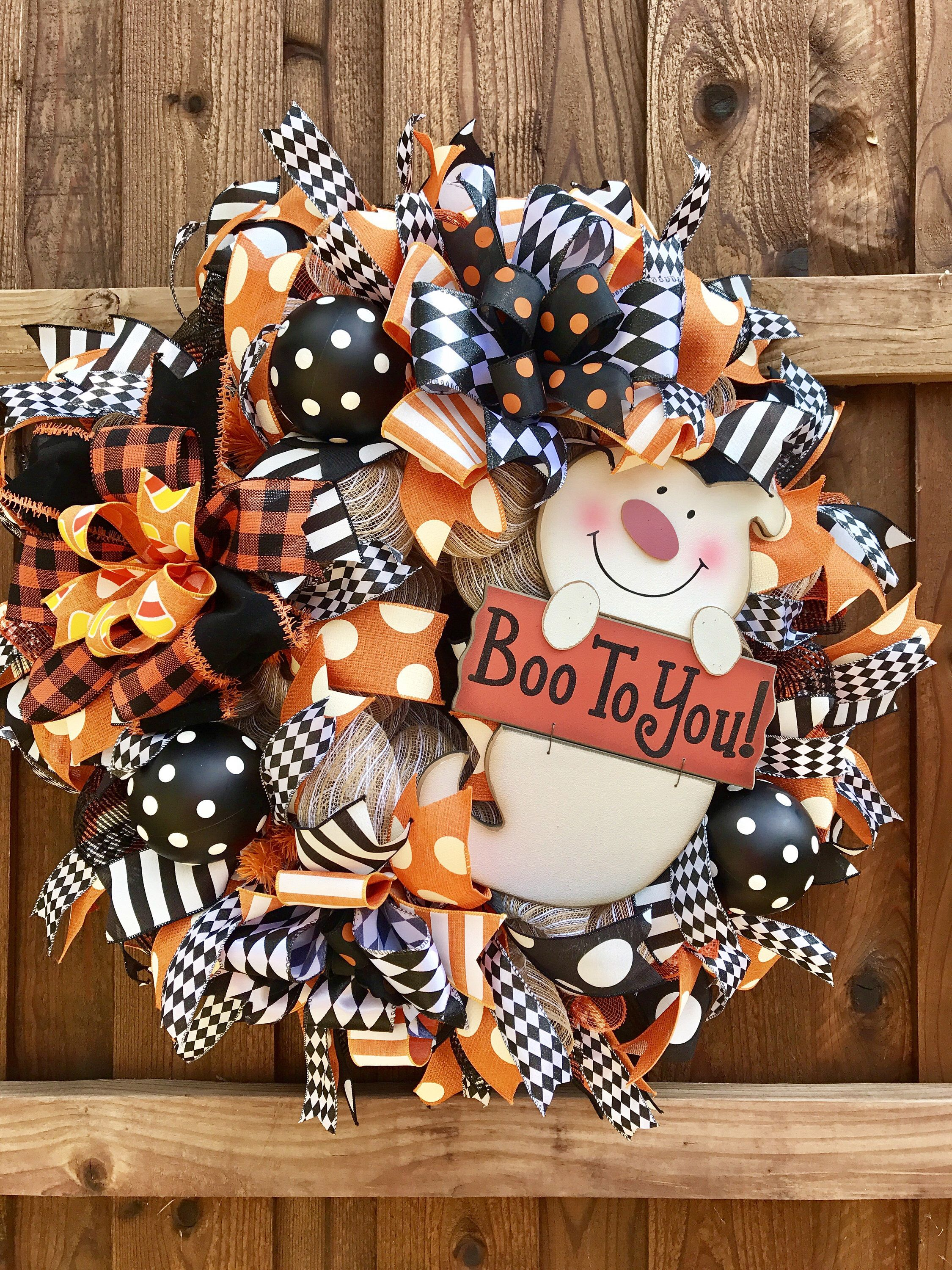 Halloween Wreath, Whimsical Halloween Wreath, Ghost Wreath - whimsical halloween decorations