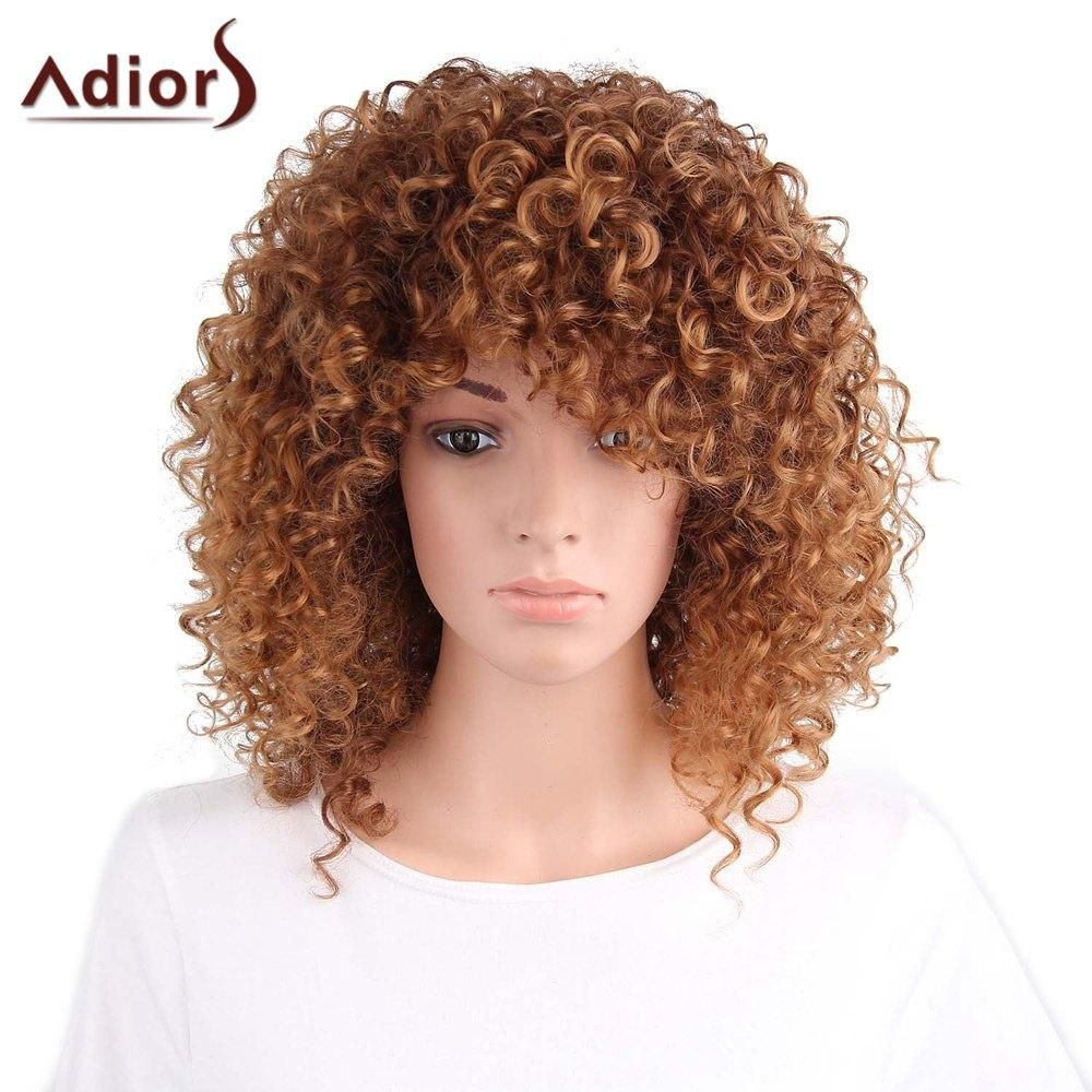 Long side part curly synthetic wig long sides synthetic wigs and wig