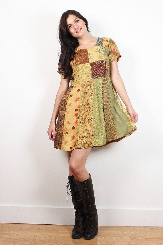6f0155ba2d Vintage 90s Babydoll Dress Boho Hippie Dress Patchwork Mini Dress 1990s  Soft Grunge Bohemian Mixed Print Floral Tshirt Dress XS S Small M  1990s   90s  soft ...