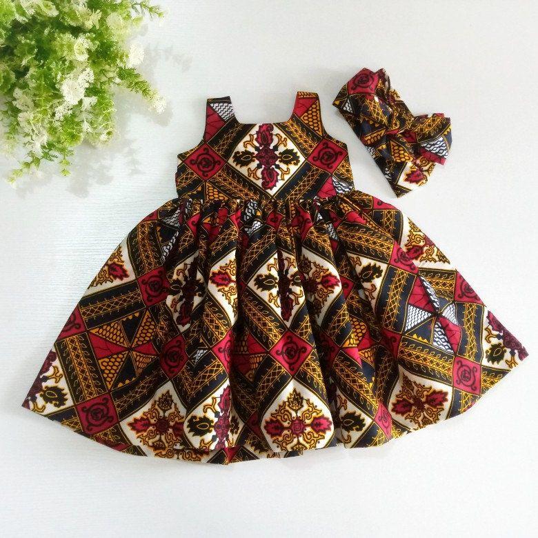 Ready To Ship Ankara Baby Girls Dress With Headban