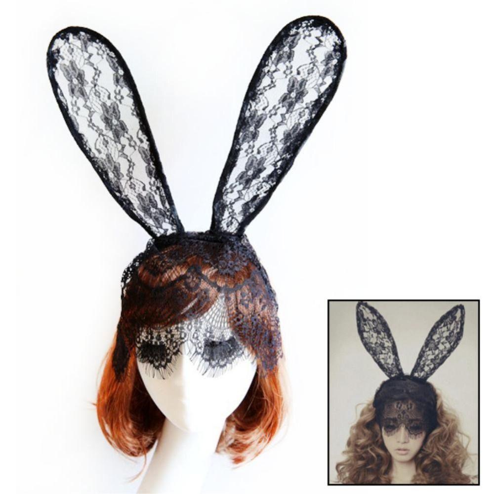 블랙 화이트 조절 레이스 마스크 동물 토끼 귀 에 머리띠 부활절 토끼 암탉 밤 파티 2016 핫 판매 EX0256