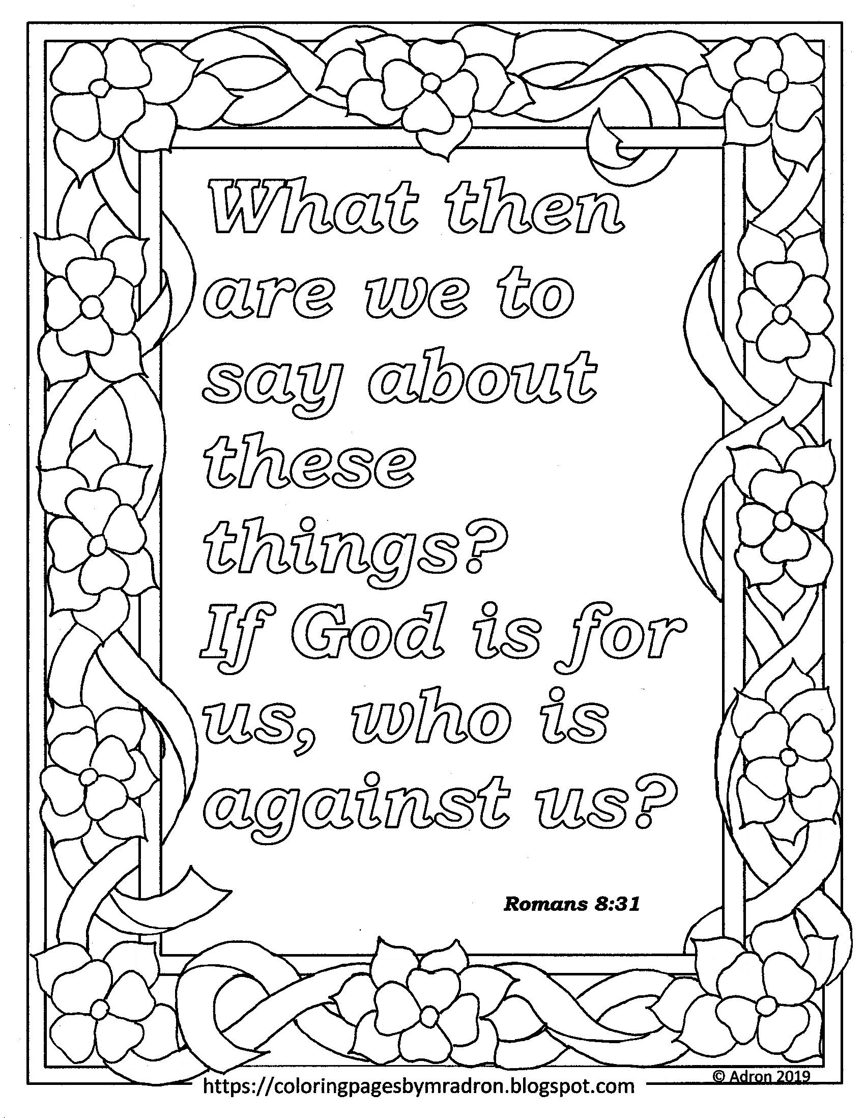 Free Romans 8 31 Print And Color Page Stress Coloring Book Bible Coloring Pages Bible Verse Coloring [ 2196 x 1700 Pixel ]