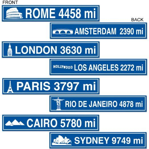 Amazon.com: Travel Street Sign Cutouts Party Accessory (1 count) (4/Pkg): Clothing