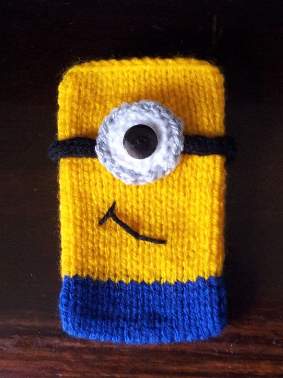 Despicable Me Minion Style Hand Knitted Mobile Phone Cover Kreatv
