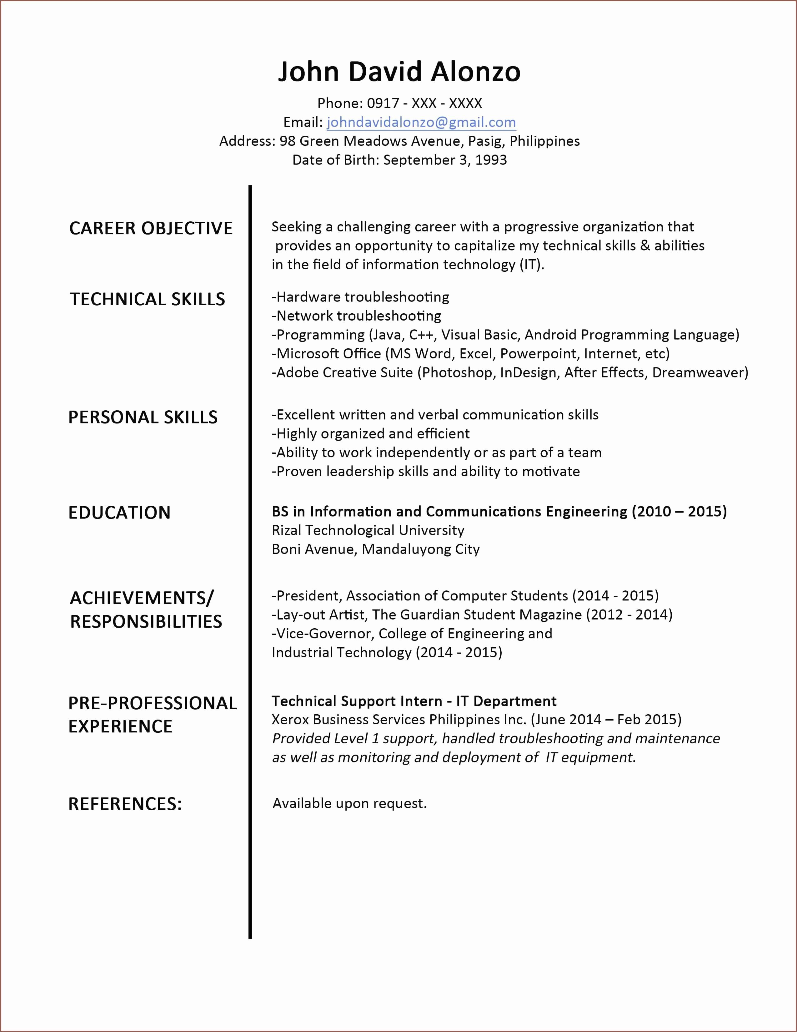 Computer Engineering Resume Examples Awesome Microsoft
