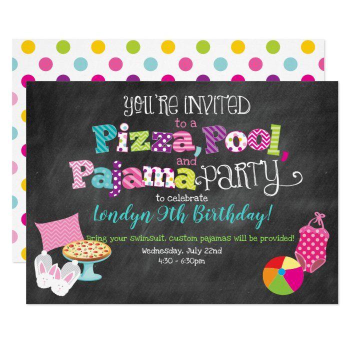 Pizza Pool And Pajama Party Invitation Zazzle Com Pajama Party Pool Birthday Party Party Invitations