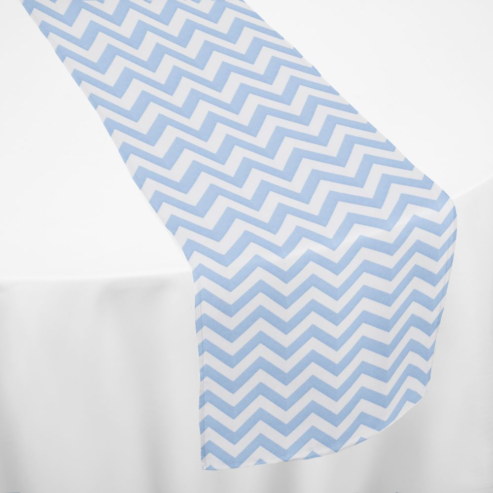 Light Blue Chevron Table Runner by Chair Covers & Linens