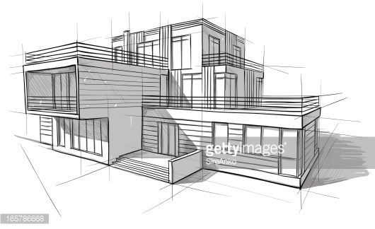 Vector illustration of the architectural design for Maquette de maison