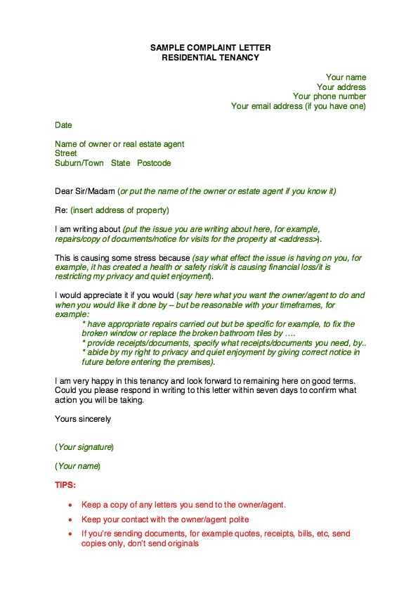 Sample Complaint Letter Template resumesdesignsample – Sample Complaint Letter