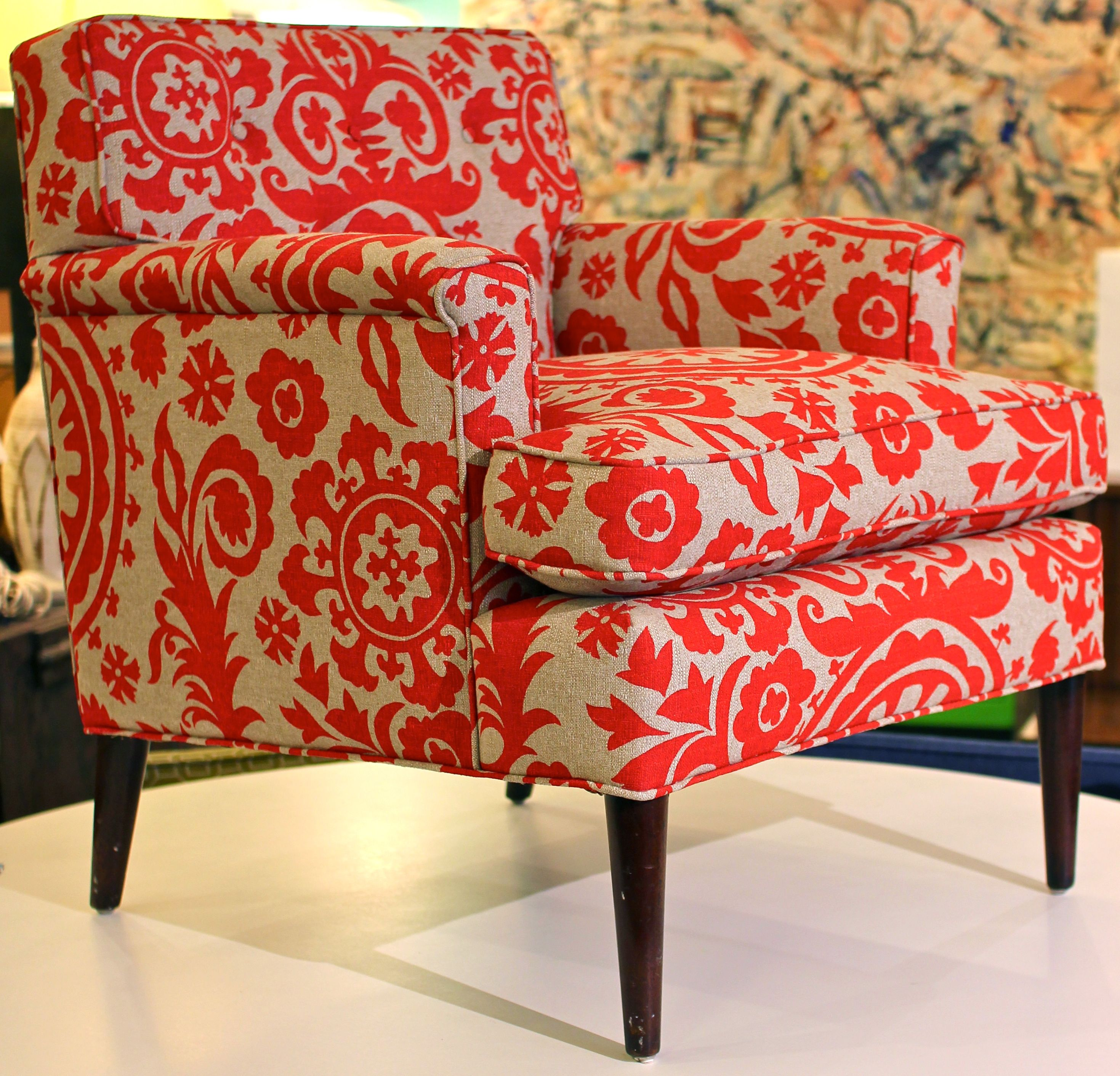 Modern Furniture Houston patterned chairs | red floral patterned chair, mid century modern