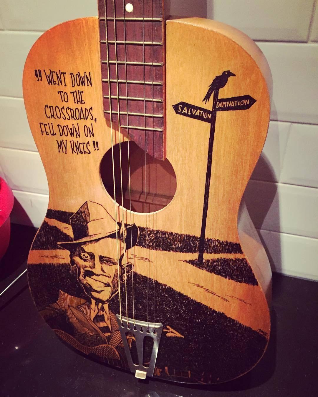 Robert Johnson guitar finished! molotow acrylics. Just