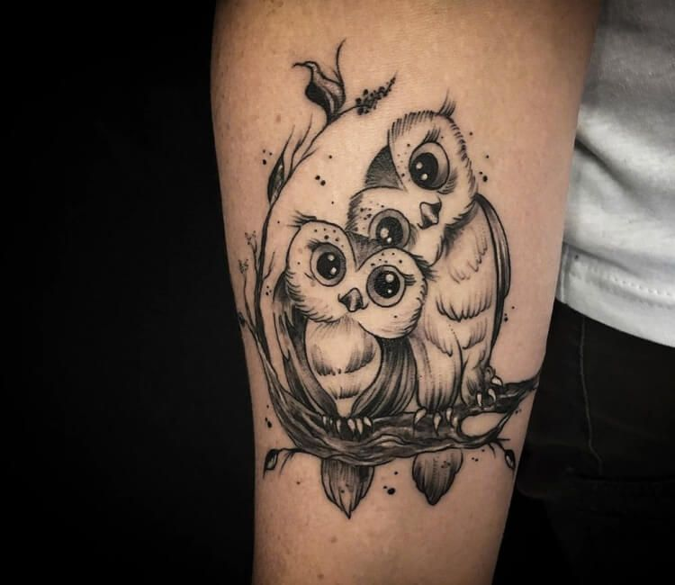 Photo - Two owls tattoo by Kafka Tattoo | Photo 29070