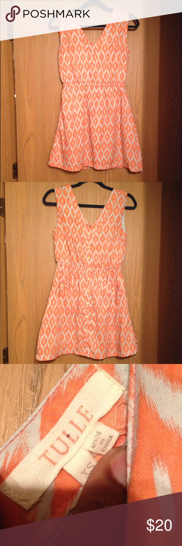 ❤️❤️Summer dress❤️❤️ Orange & Diamond diamond patterned summer dress.  In great condition. Tulle Dresses