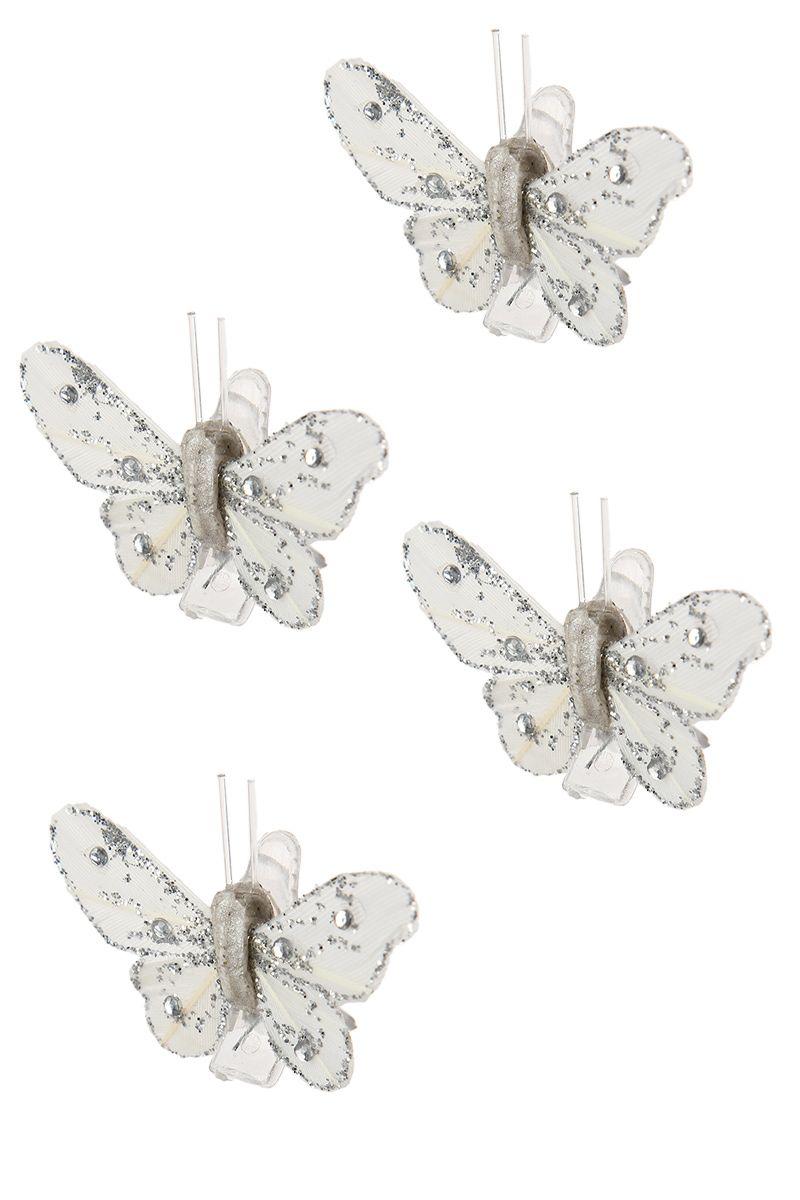 4 papillons sur pince pailletés argentés - Tati