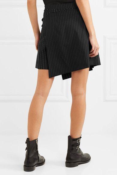 1796eb173976 McQ Alexander McQueen - Asymmetric Pleated Pinstriped Woven Mini Skirt -  Black