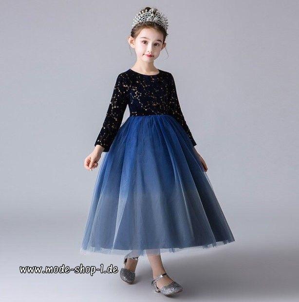 Langarm Mädchenkleid Elegant mit Spitze und Tüll in Blau ...