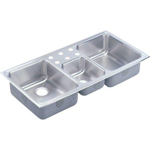 elkay lcr4322 gourmet lustertone stainless steel 43   x 22   triple basin top mount kitchen sink  no faucet holes  elkay lcr4322 gourmet lustertone stainless steel 43   x 22   triple      rh   pinterest com