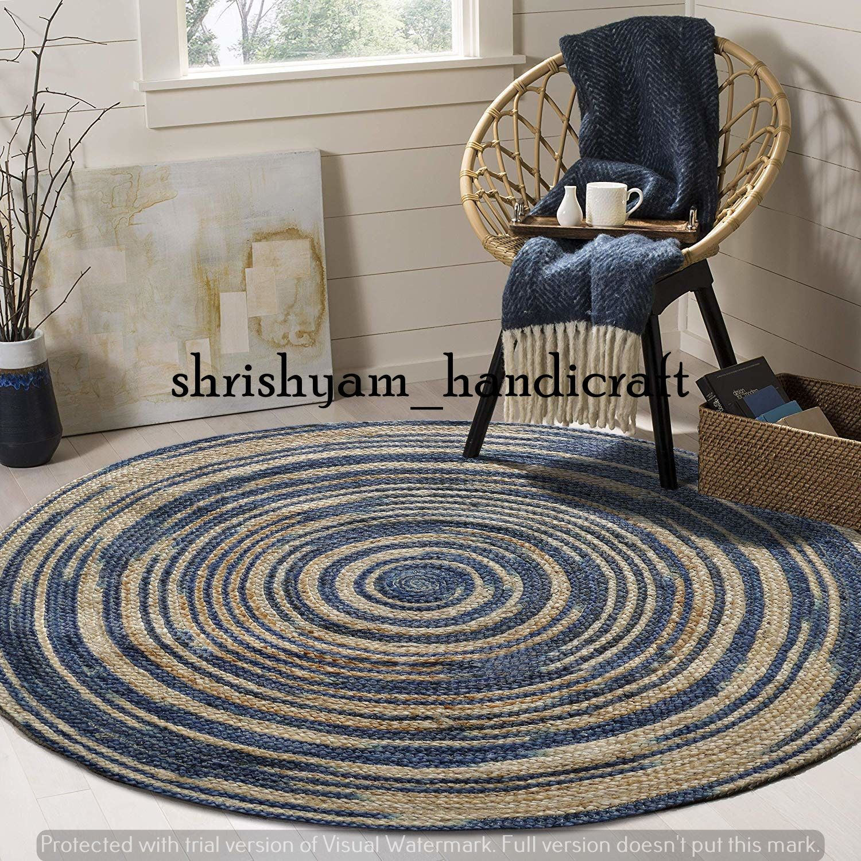 Round Rug Oushak Rug,Traditional Indian Home Decor Natural Jute Rug Handmade Bohemian Rug Indian Braided Rug Geometric,Turkish 4x4 ft