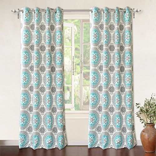 DriftAway Drift Away Bella Room Darkening Grommet Unlined Window Curtains Set Of Two Panels Each Aqua Gray