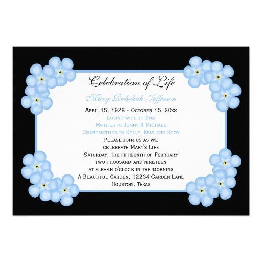 Celebration Of Life Invitation Forget Me Nots Zazzle Com In 2021 Celebration Of Life Invitations Wedding Invitation Website