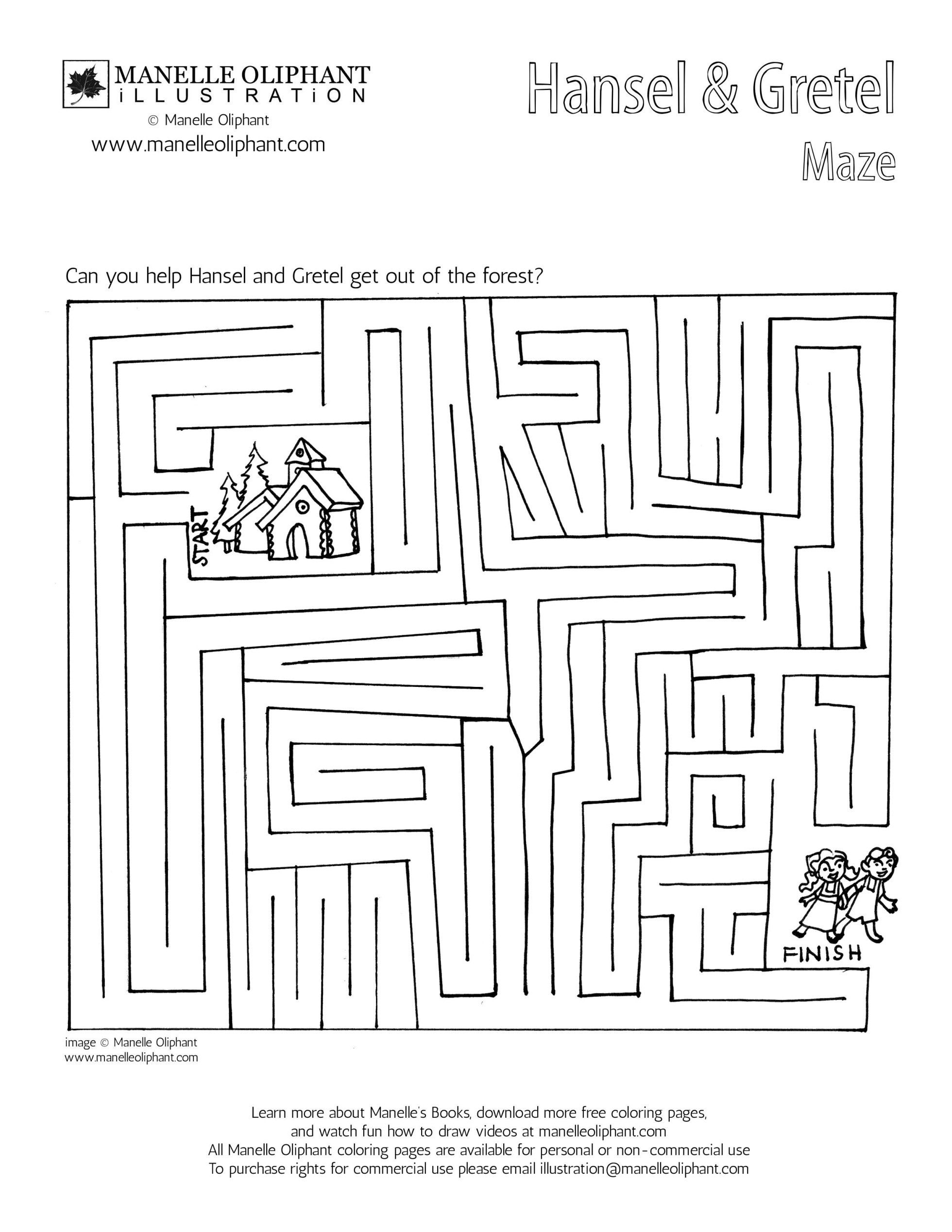 Free Coloring Page Friday Hansel And Gretel Maze