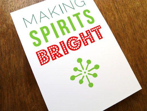 Printable Christmas Card - Making Spirits Bright Printable - printable christmas card templates