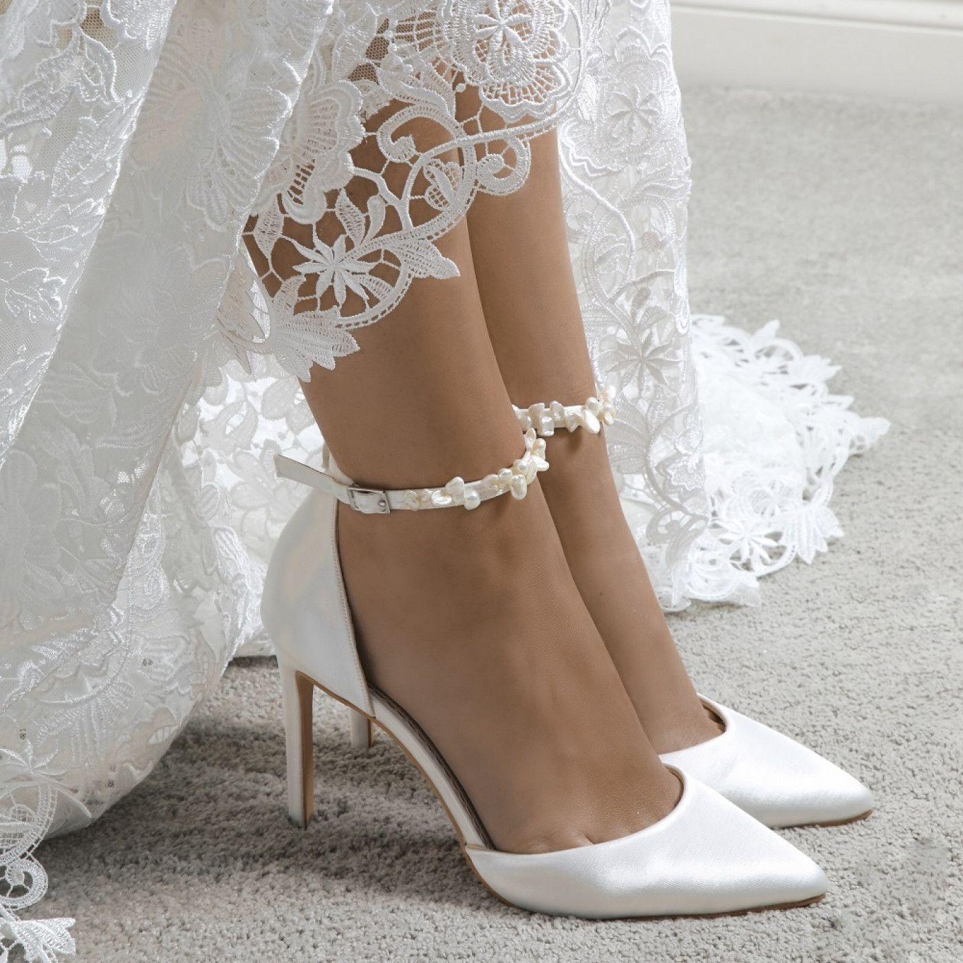 Perfect Bridal Ella Dyeable Ivory Satin Keshi Pearl Ankle Strap