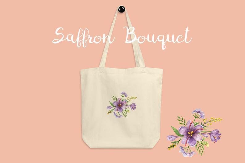 Saffron Flower Bouquet Tote Bag Reusable Grocery Bag Shopping