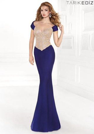 bdd17a73c22 Beaded Long Evening Dress with Sleeves with 2014 Sweetheart Nude Bodice Cap  Blue Mermaid. Tarik Ediz - 92402