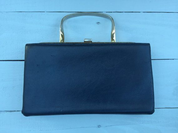 Vintage Navy Blue Leather Purse by BeCreative2 on Etsy