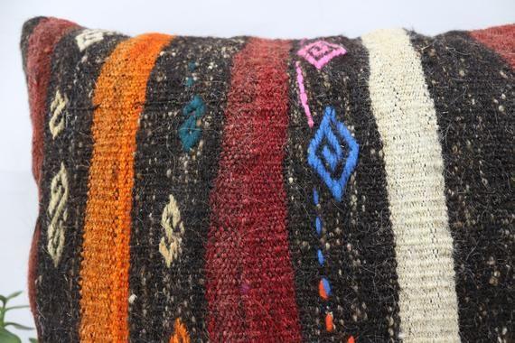 20x28 Turkey Kilim Pillow, Ottoman Pillow,Large Lumbar Pillow, Cushion Cover, Home Decor Pillow, Red
