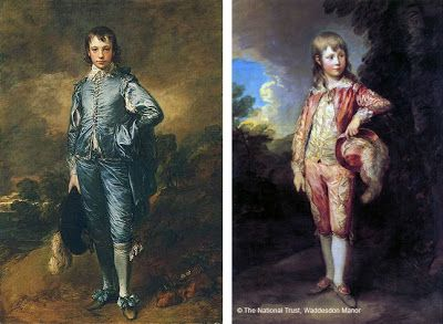 Thomas Gainsborough S The Blue Boy And Pink Painted In Late 1700 I M Seeing Lace Bows Stockings Long Hair