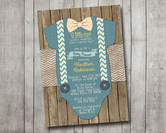 Boy Baby Shower Invitation Blue Little Man Bow Tie Suspenders Burlap  Chevron Polkadot Wood Shabby Rustic Printable Custom Digital