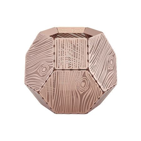 Etch Tea Light Holder  C Wood is part of Copper Home Accessories Tea Lights - Create a relaxing environment with this Etch tealight holder from Tom Dixon  Beautifully crafted from metal it features finely etched holes that give the illusion of a textured wood surface  Creating a mass of intricate shadows when lit, it makes a fabulous gift idea and looks wonderful paired with more innovative home accessories from Tom Dixon  Please note due to the nature of the material colour change may occur over time