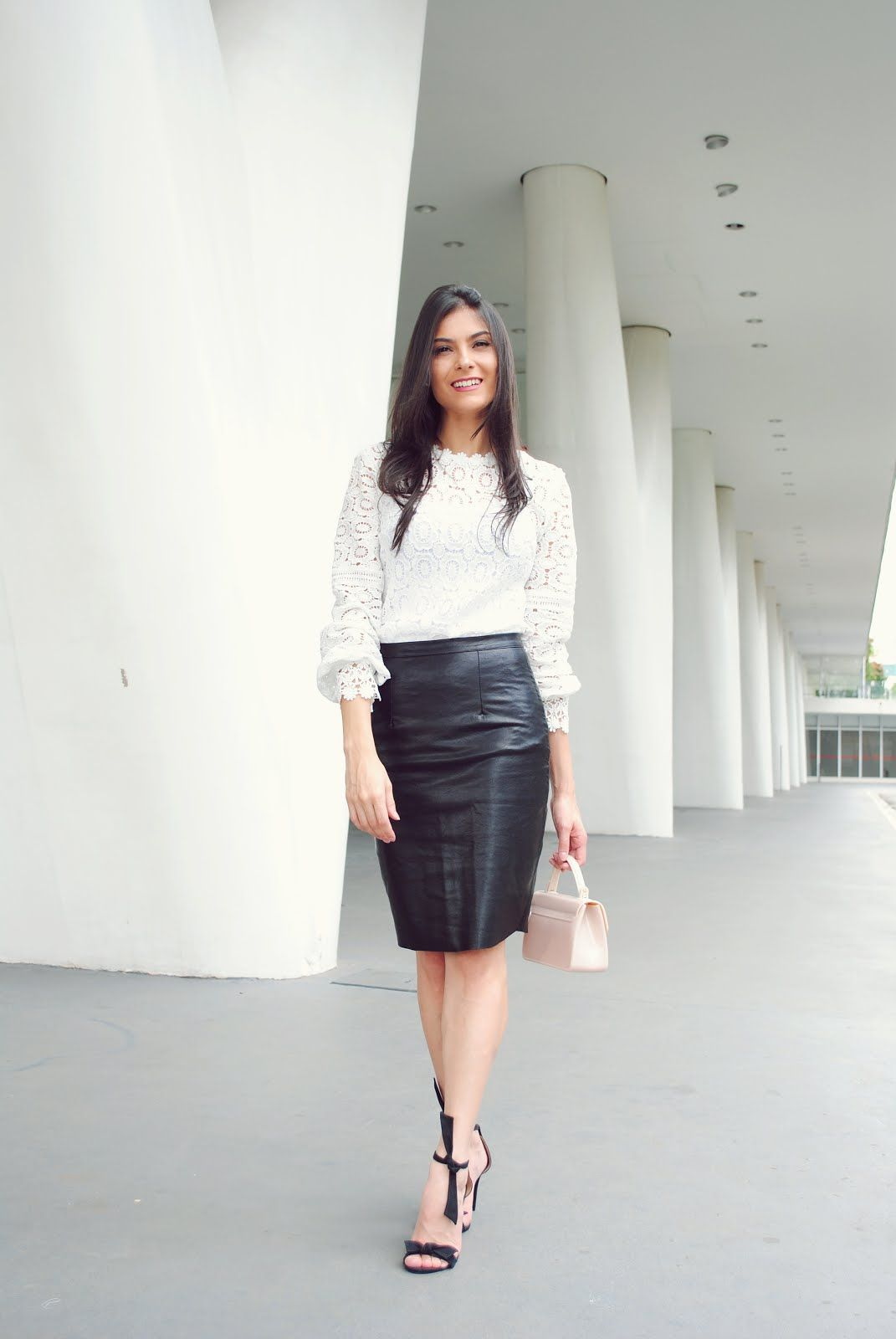 a5d474db8ad2e Leather pencil skirt