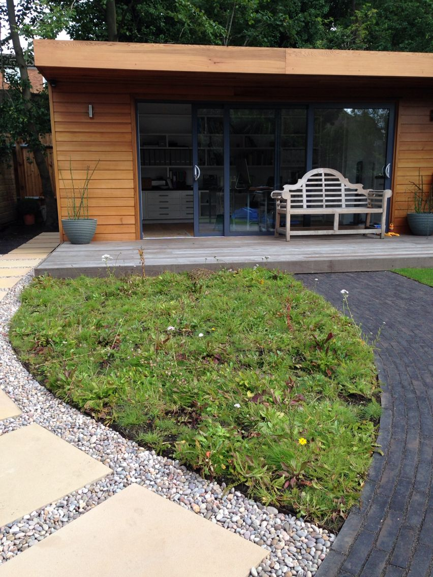 office garden design. Garden Office With Meadow Grass, Gravel And Sawn Sandstone Path, Iroko Deck Design I