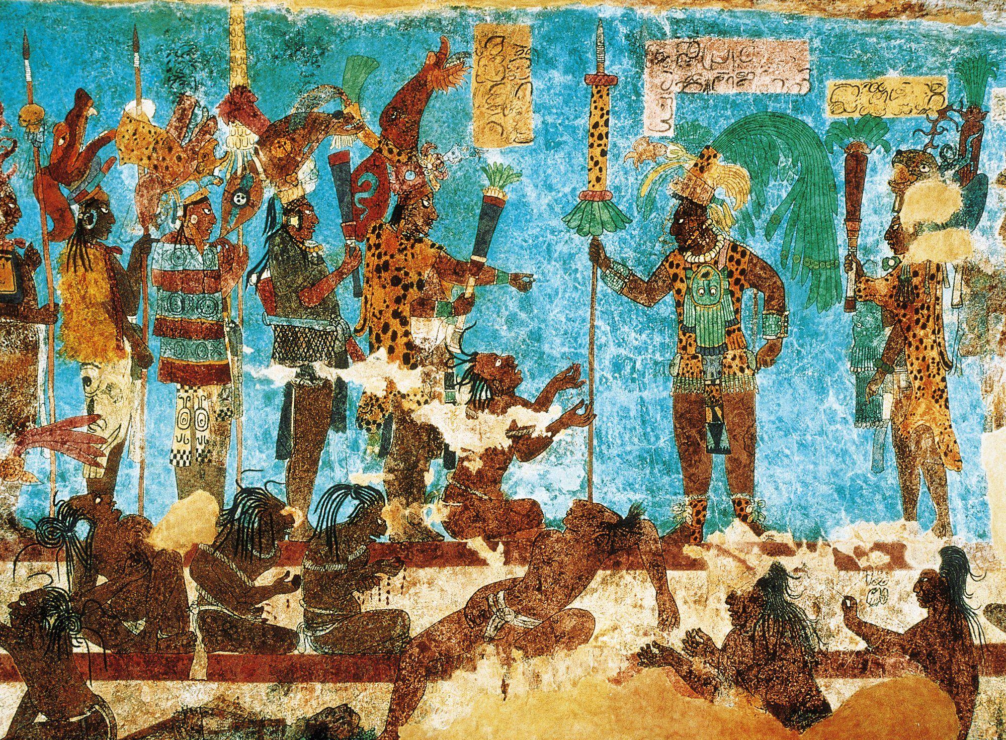 Mural De Bonampak Mexico Pintura Con Tonos Azules Que Repr The