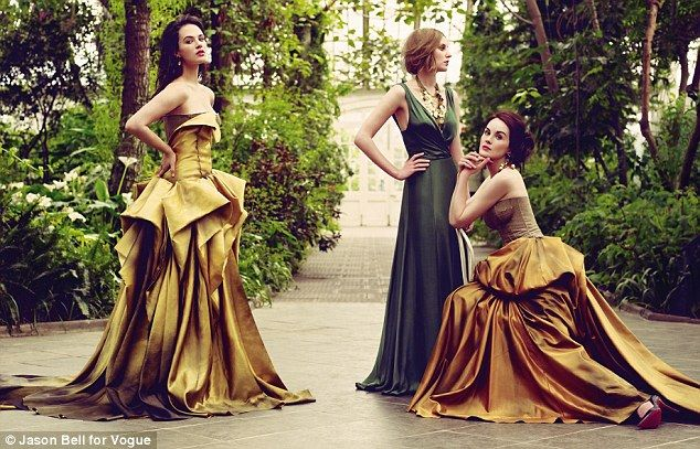 Jessica Brown-Findley (Lady Sybil), Laura Carmichael (Lady Edith) and Michelle Dockery (Lady Mary) pose for Vogue! [Downton Abbey]