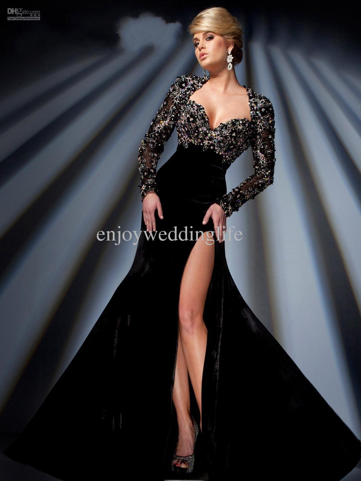 Cheap Prom Dresses Discount Sweetheart Black Velet Prom Dresses