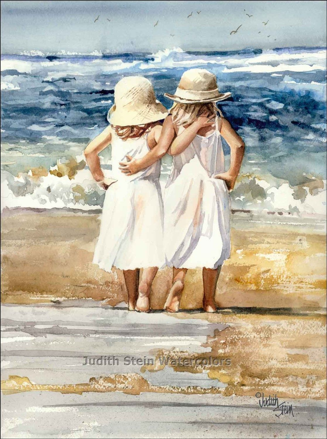 Watercolor Painting Print Sister Friend Hug Beach White Dress