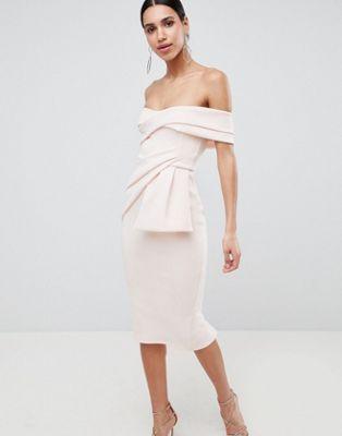 Vestido midi de tubo con parte delantera cruzada y escote Bardot de ASOS  DESIGN | oufit de invitadas | Pinterest | Bardot, Wraps and Fashion online