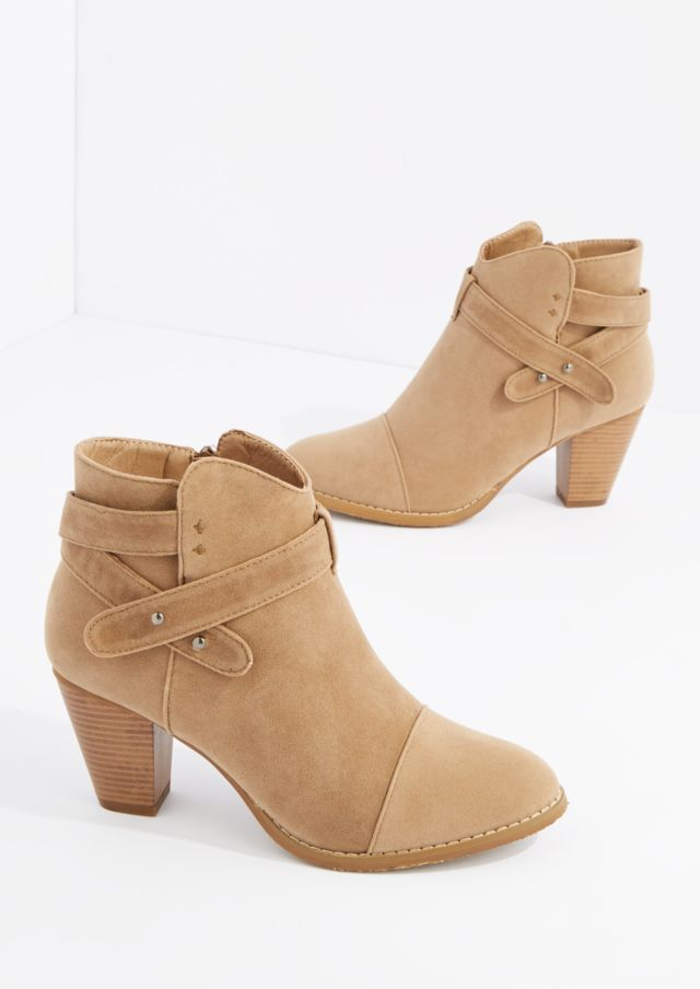 image of Taupe Criss Cross Strap Heel Bootie By Hot Kiss