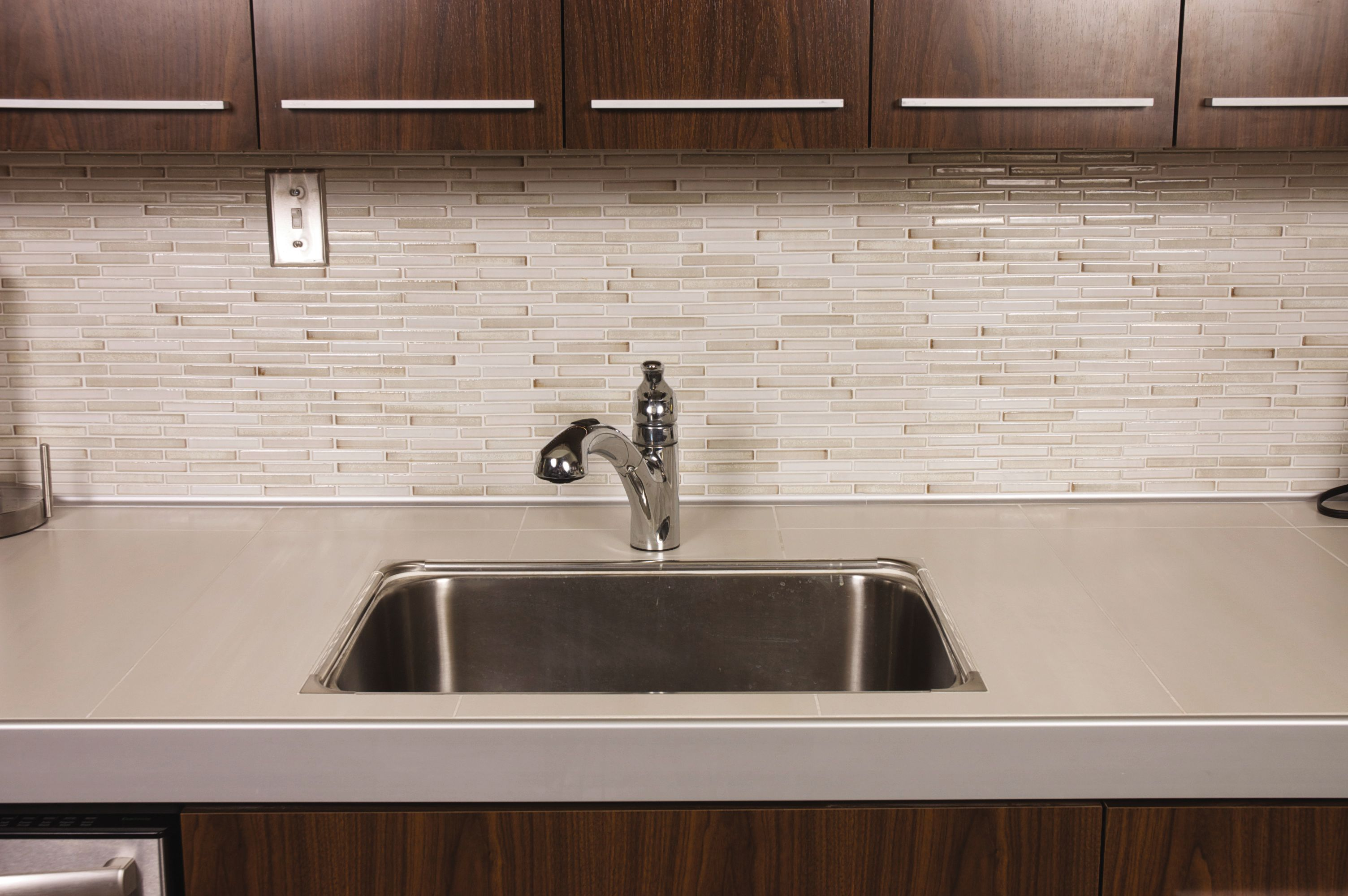 Sleek Simple Kitchen Remodel Tile Countertops Modern Tiles